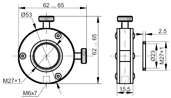 Dimensions of adjustement holder HSF01