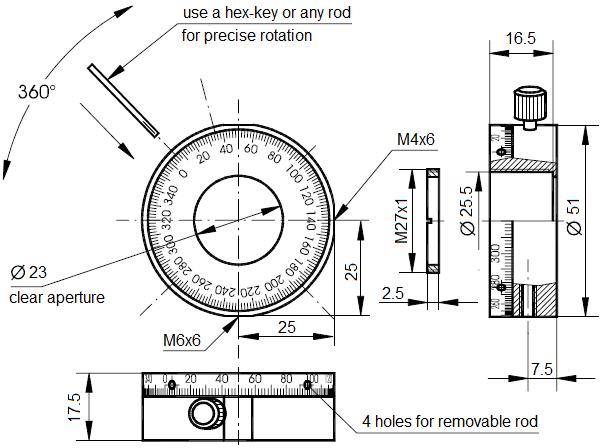 Dimensions of adjustement holder HSF03