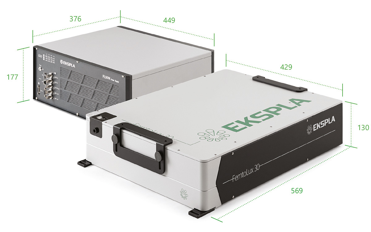 Dimensions of FemtoLux30 laser head and power supply/cooling unit