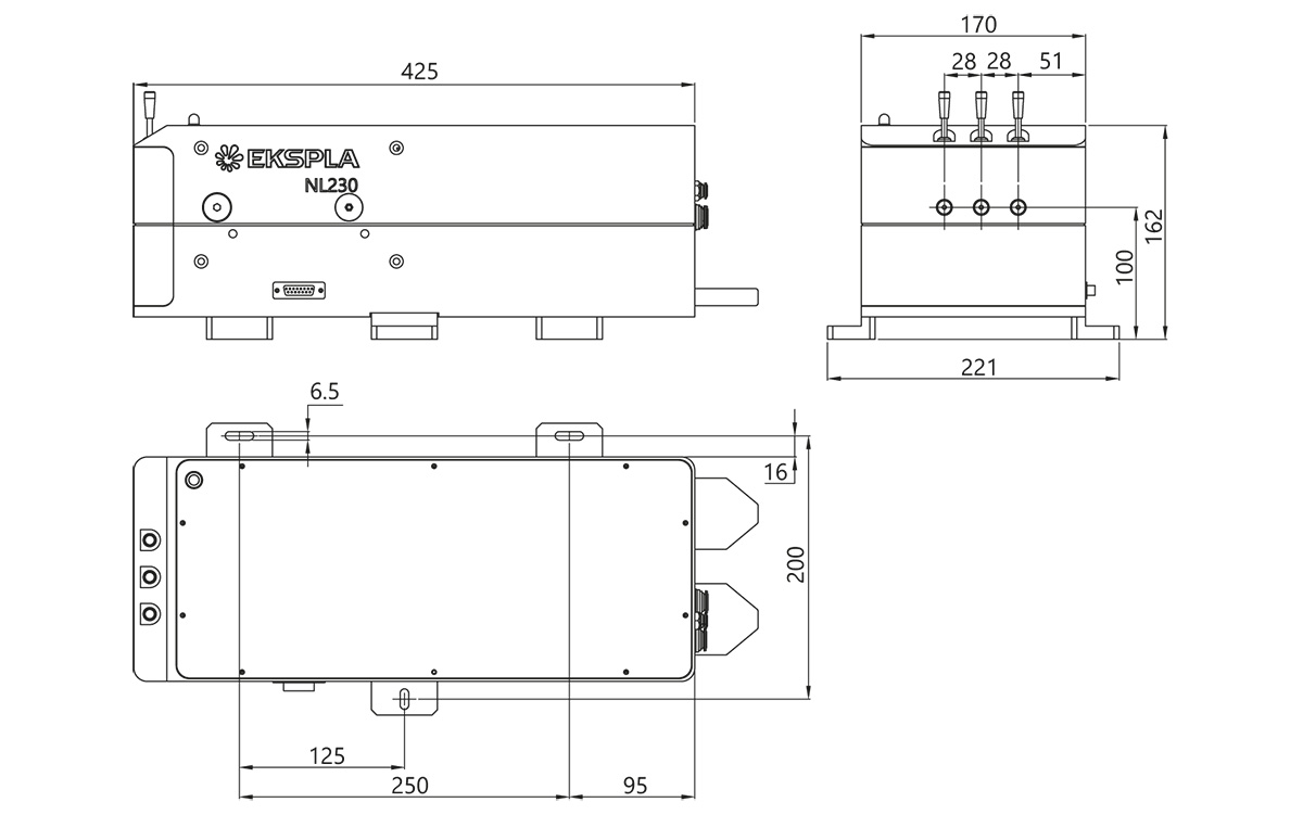 NL230 series laser head outline drawing