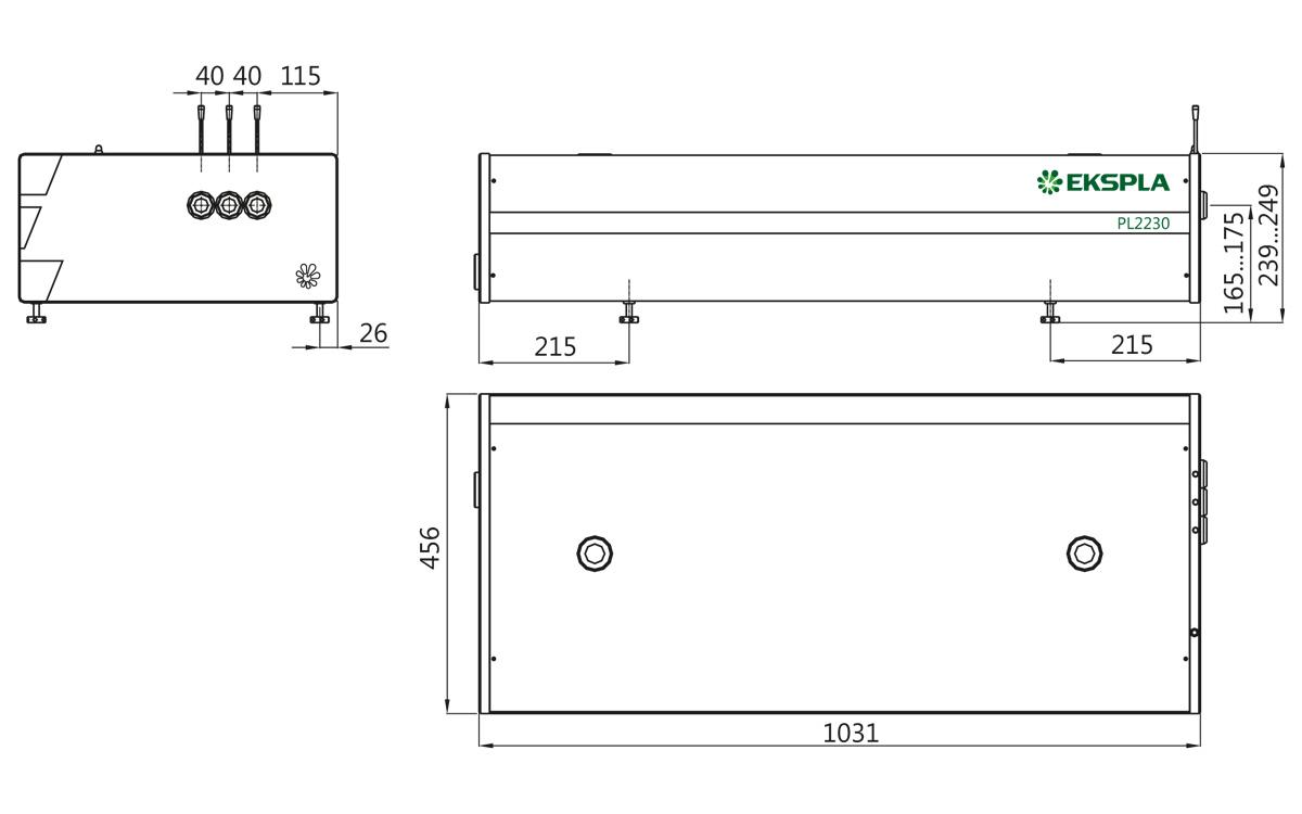 Outline drawings of PL2230 series laser head