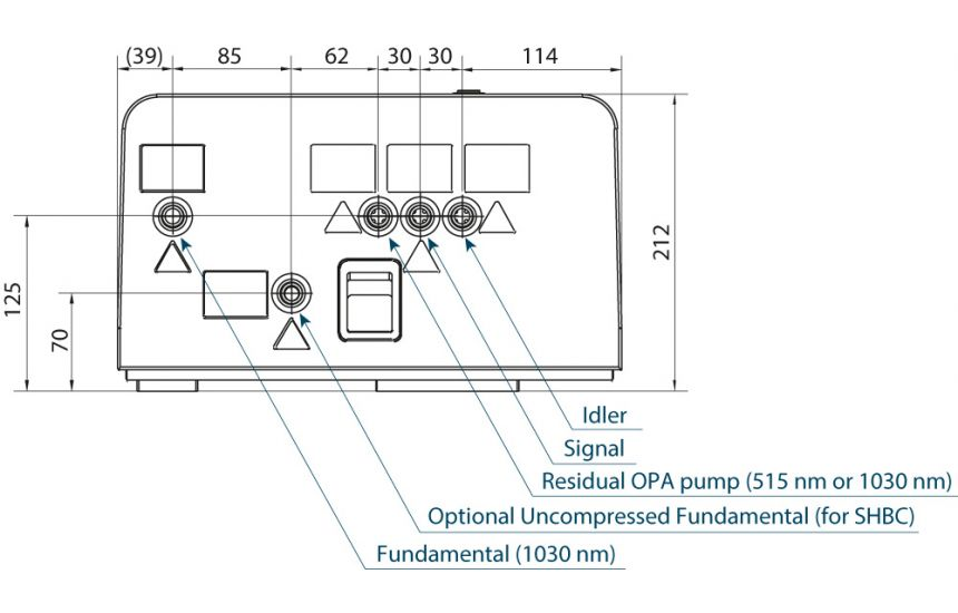 Pharos outline drawings with I-OPA output ports (rear view)