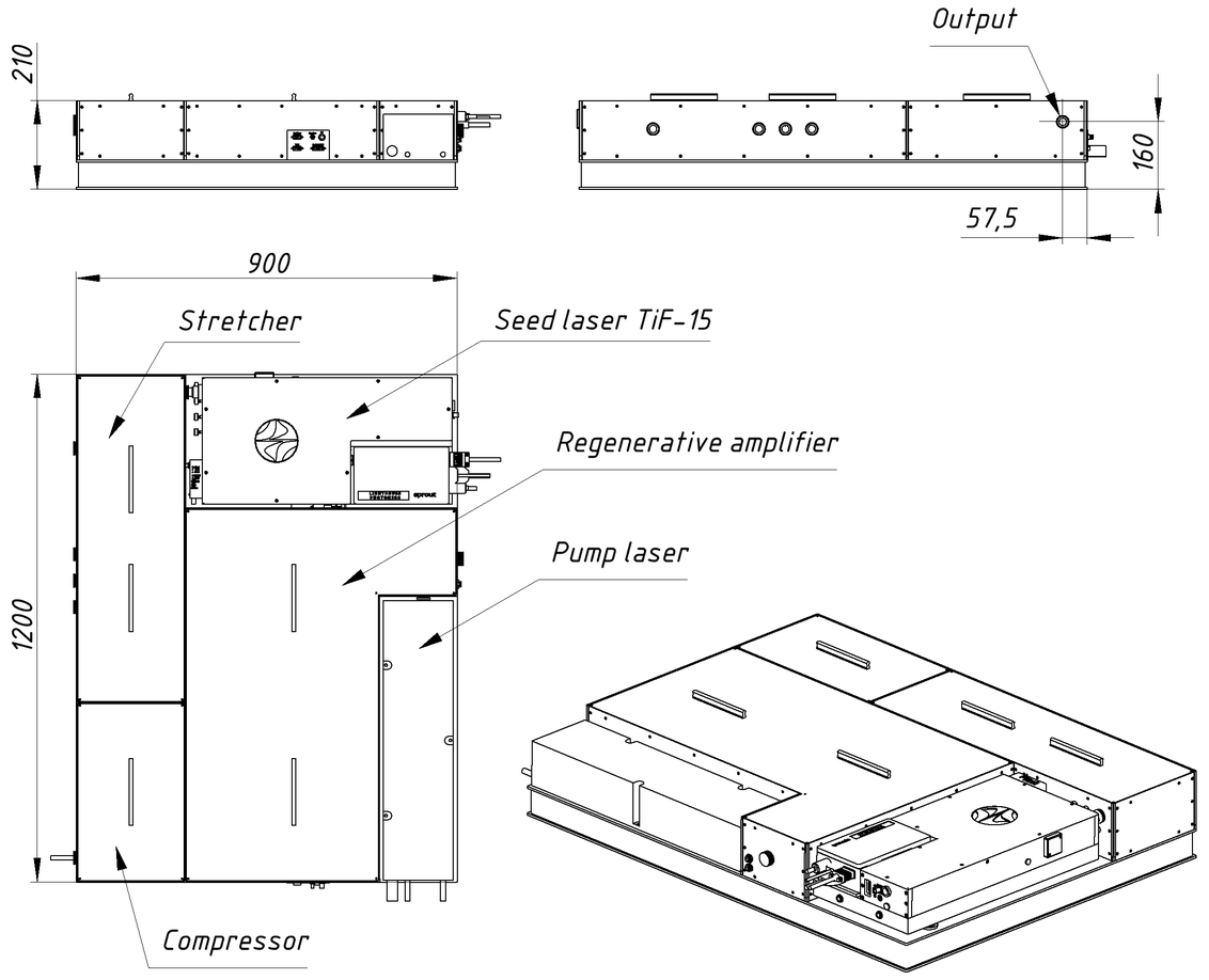 Dimensions of REUS-3m1k system (3 mJ, 1 kHz)