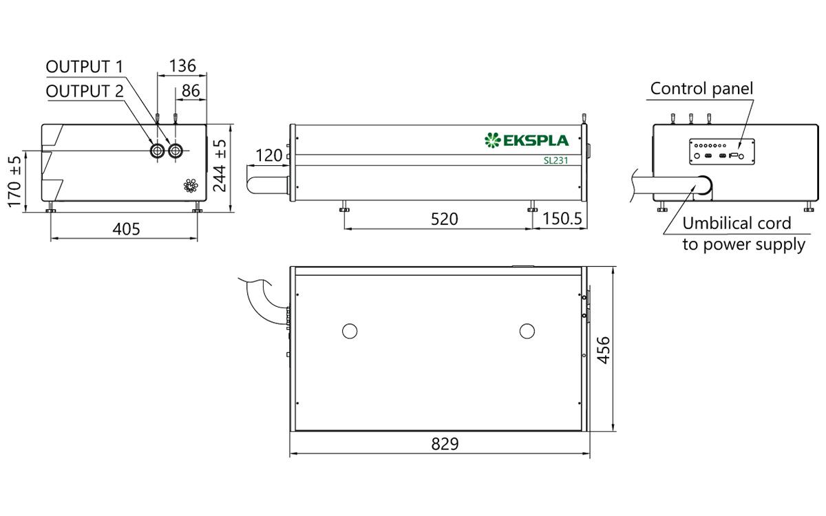 SL234, SL235 laser head outline drawings